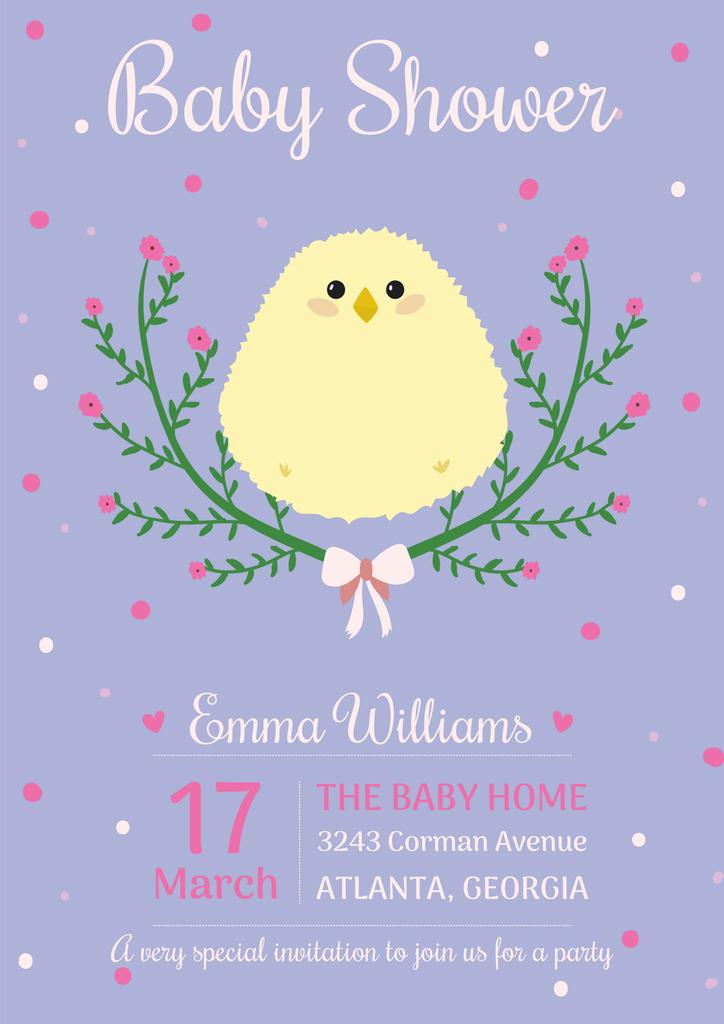 Baby shower invitation with cute chick — Maak een ontwerp