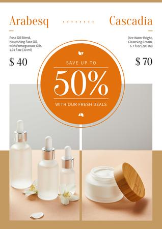 Modèle de visuel Cosmetics Ad with Skincare Products Bottles - Poster