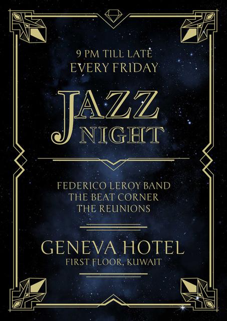 Modèle de visuel Jazz Night Invitation on Night Sky - Poster
