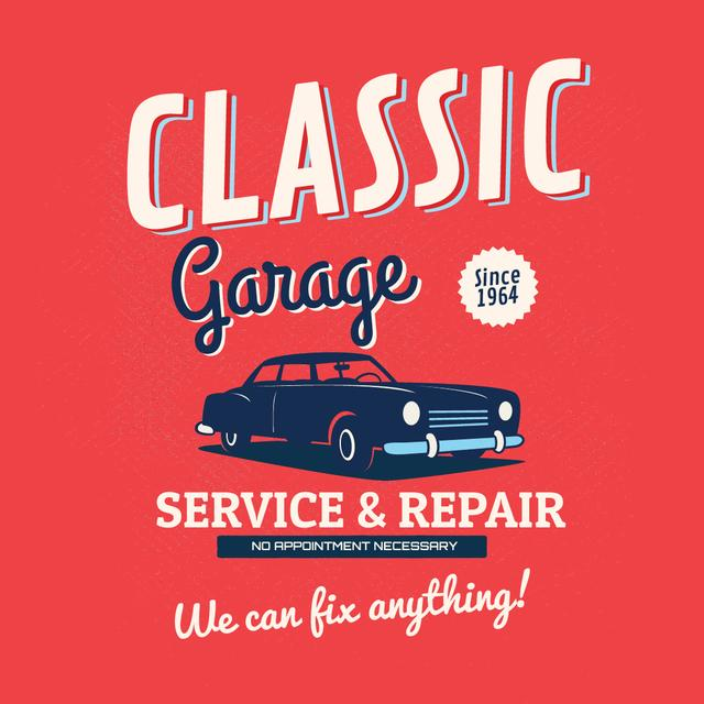 Garage Services Ad Vintage Car in Red Instagram ADデザインテンプレート