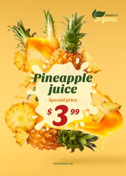Pineapple Juice Offer Fresh Fruit Pieces | Flyer Template