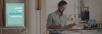 Young man working at home, freelance lifestyle concept