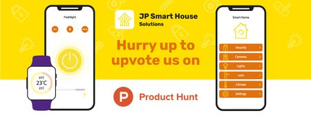 Product Hunt Launch Ad with Smart Home App on Screen Facebook cover – шаблон для дизайна