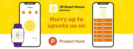 Product Hunt Launch Ad with Smart Home App on Screen Facebook cover Modelo de Design