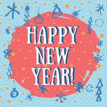 Happy New Year greeting with decorations