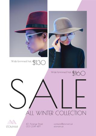 Ontwerpsjabloon van Poster van Seasonal Sale with Woman Wearing Stylish Hat