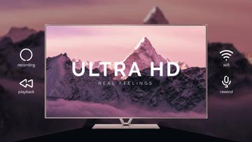 HD TV Ad Mountains on Screen in Purple