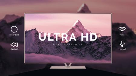 Ontwerpsjabloon van Full HD video van HD TV Ad Mountains on Screen in Purple