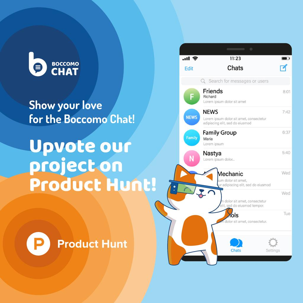 Product Hunt Campaign Chats Page on Screen | Instagram Post Template — Створити дизайн