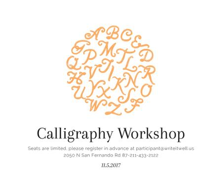 Ontwerpsjabloon van Facebook van Calligraphy Workshop Announcement Letters on White