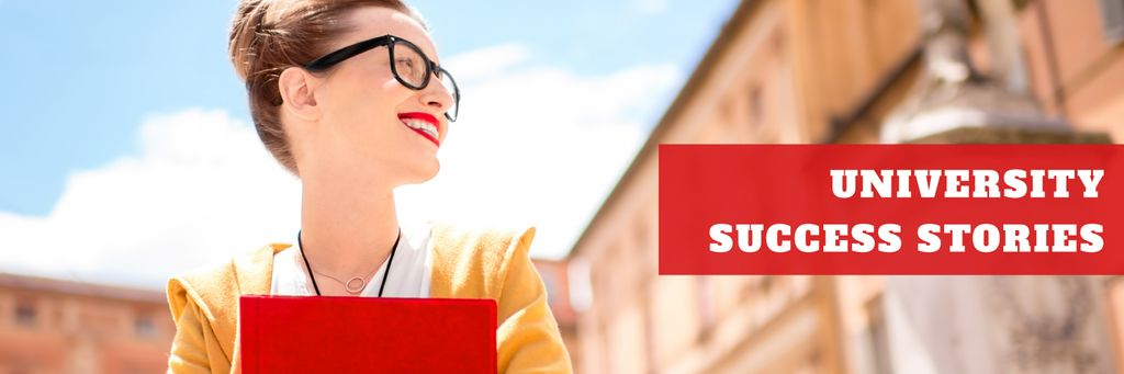 University success stories poster Twitter Design Template