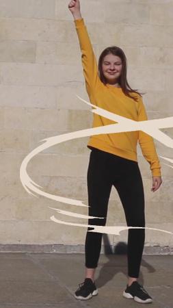 Cheerful young Girl dancing TikTok Video – шаблон для дизайна