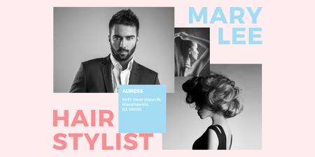 Hairstylist Offer with Handsome Man and Stylish Woman Twitter Design Template
