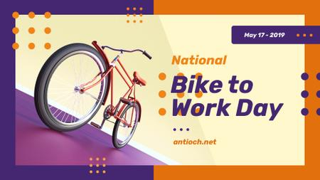 Template di design Bike to Work Day Greeting Modern City Bicycle FB event cover