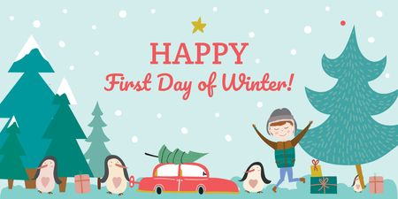 Plantilla de diseño de Happy first day of Winter Twitter