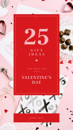 Valentine's Day Festive Heart-shaped Candies and Cards Instagram Story Modelo de Design