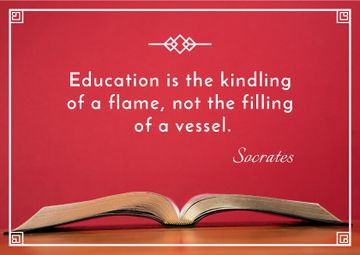 Educational quote with Open Book