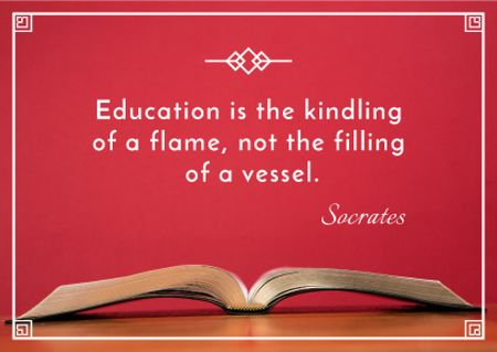 Educational quote with Open Book Card Modelo de Design