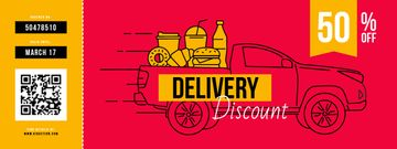 Delivery Discount with Car delivering Food