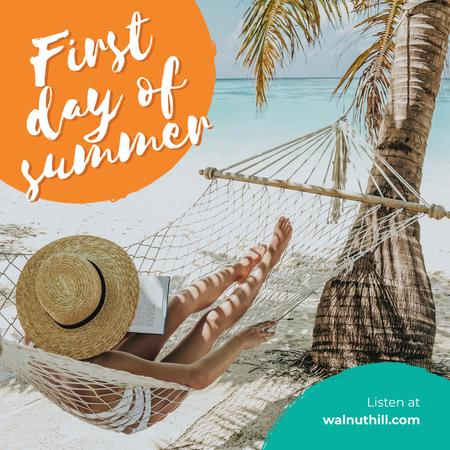 Designvorlage First day of Summer with Woman in hammock by the sea für Instagram