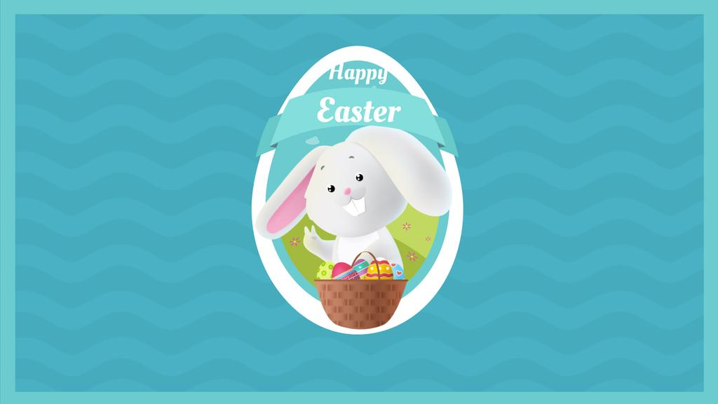 Easter bunny with colored eggs in basket — Modelo de projeto
