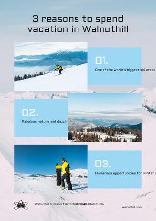 Mountains Resort Invitation with Snowboarder on Snowy Hills Poster Modelo de Design