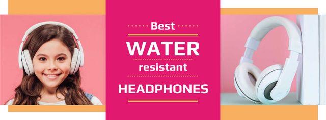 Plantilla de diseño de Gadgets Sale Girl in Headphones in Pink Facebook cover