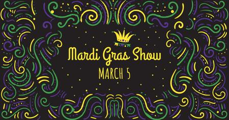 Mardi Gras carnival Announcement Facebook ADデザインテンプレート