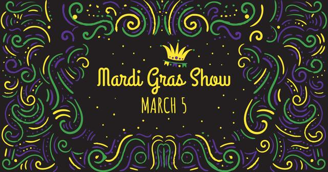 Mardi Gras carnival Announcement Facebook AD – шаблон для дизайну