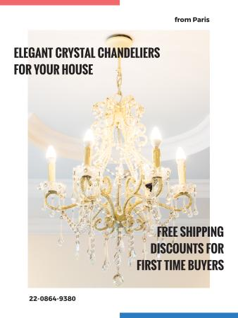 Template di design Elegant crystal Chandelier offer Poster US