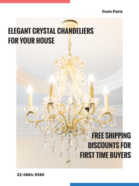 Elegant crystal Chandelier offer Poster US Design Template