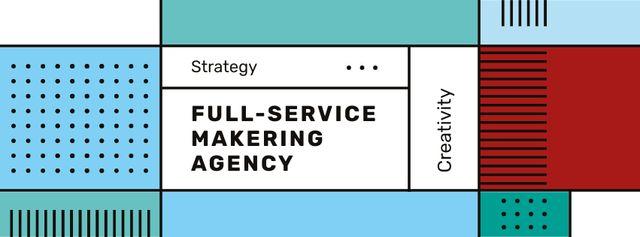 Business Agency ad on geometric pattern Facebook cover – шаблон для дизайну