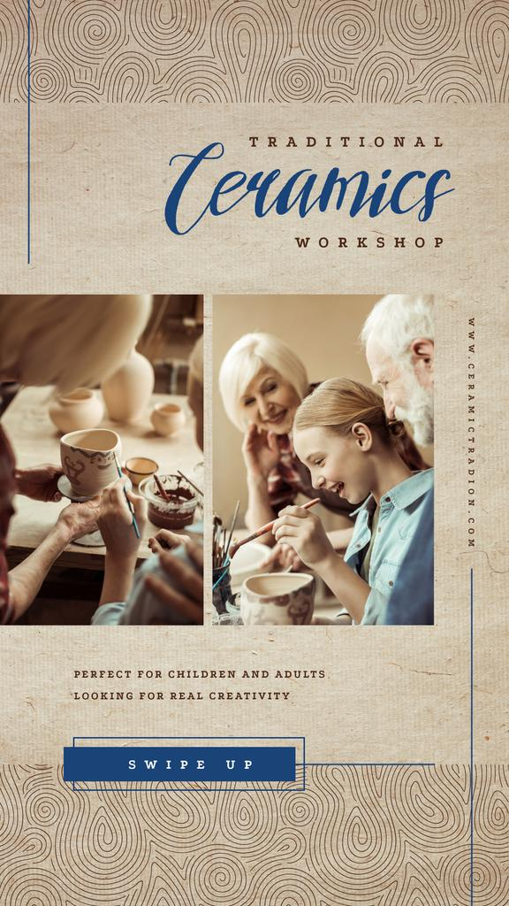 Family working in pottery — ein Design erstellen