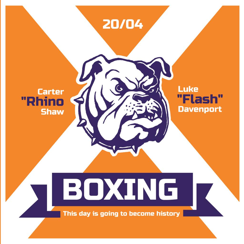 Boxing Match Announcement Bulldog on Orange — Crea un design