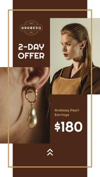 Jewelry Offer Woman in Pearl Earrings