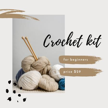 Ontwerpsjabloon van Instagram van Crochet Kit for beginners Offer