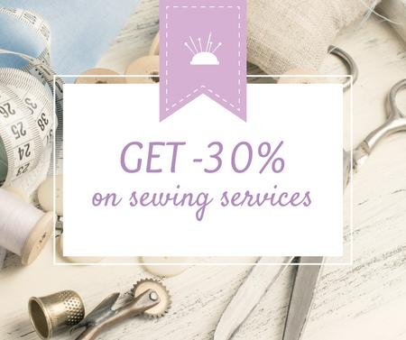 Template di design Sewing Services ad with Tools and Threads in White Facebook