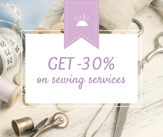 Ontwerpsjabloon van Facebook van Sewing Services ad with Tools and Threads in White