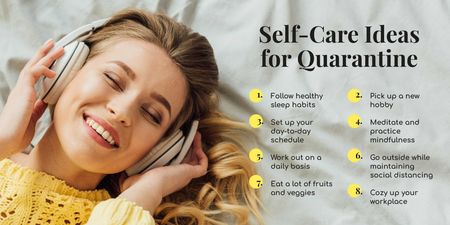 Ontwerpsjabloon van Twitter van Selfcare Ideas for Quarantine with Woman listening music