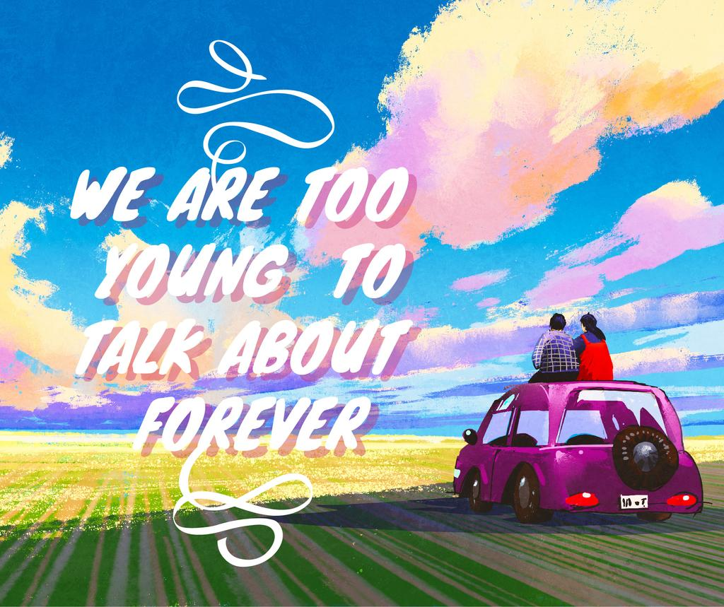 Youth Quote People on Car Admiring View | Facebook Post Template — Створити дизайн