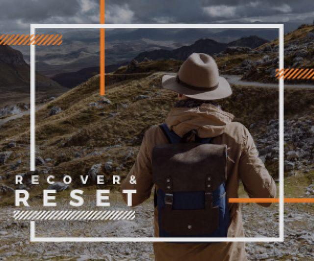 Designvorlage Hiking Tour Invitation Backpacker in Mountains für Medium Rectangle