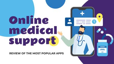 Online Medical Support Doctor on Phone Screen Youtube Thumbnail Design Template