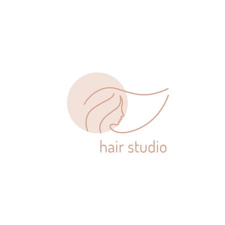 Hair Studio Ad Woman with Pink Hair Logo – шаблон для дизайна