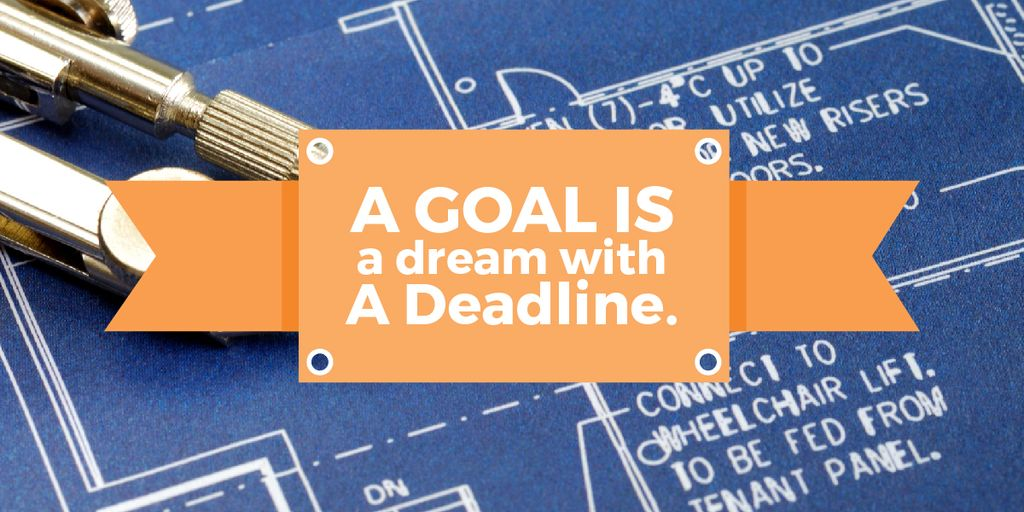 Goal motivational quote on blueprint Image Design Template