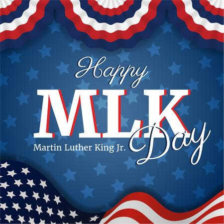 Ontwerpsjabloon van Instagram AD van Martin Luther King Day Greeting with Flag