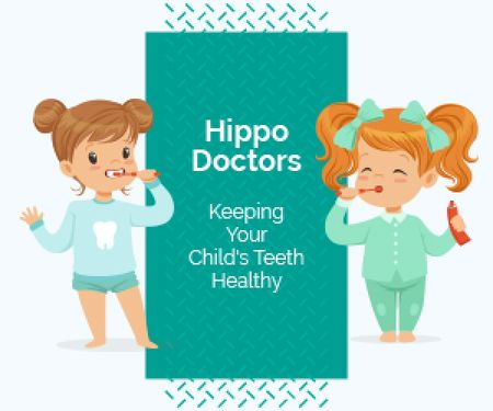 Kids Dental Clinic Ad Girls Brushing Their Teeth Medium Rectangle Modelo de Design