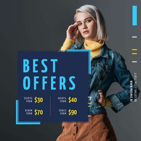 Store Offer with Stylish Woman in Warm Clothes Animated Post Modelo de Design