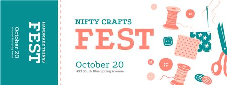 Nifty Crafts Fest with Threads and Buttons Ticket – шаблон для дизайну