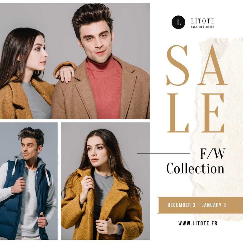 Fashion Sale Ad Stylish Couple in Winter Clothes Instagram Design Template
