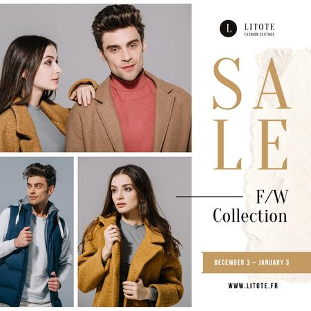 Fashion Sale Ad Stylish Couple in Winter Clothes Instagram Modelo de Design
